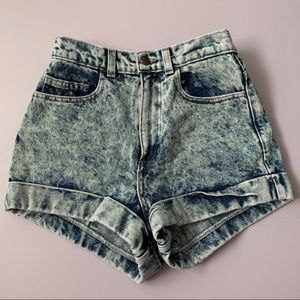 American Apparel high waist denim shorts rolled